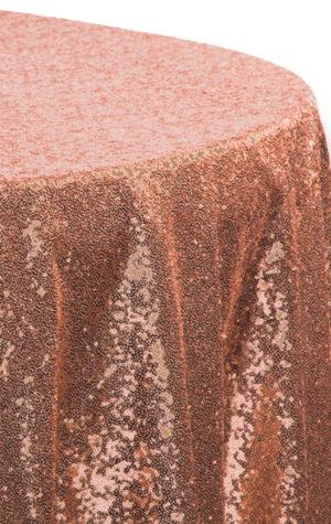 obrus cekinowy w kolorze miedzianym