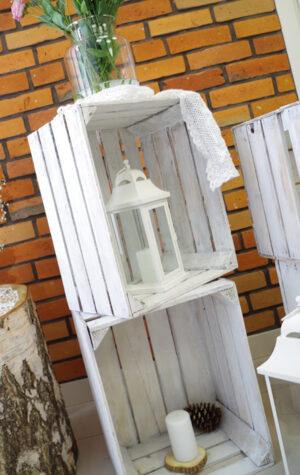 skrzynki drewniane białe wynajem
